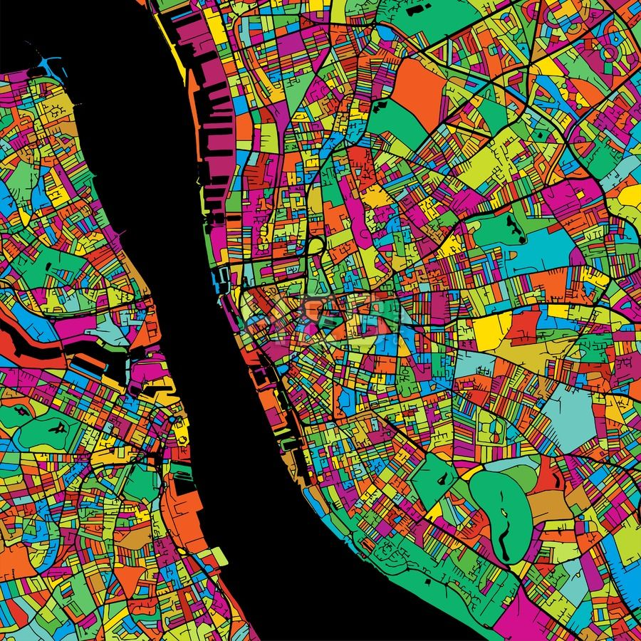 Liverpool Colorful Vector Map on Black (With images)   Map vector, Liverpool, Map art
