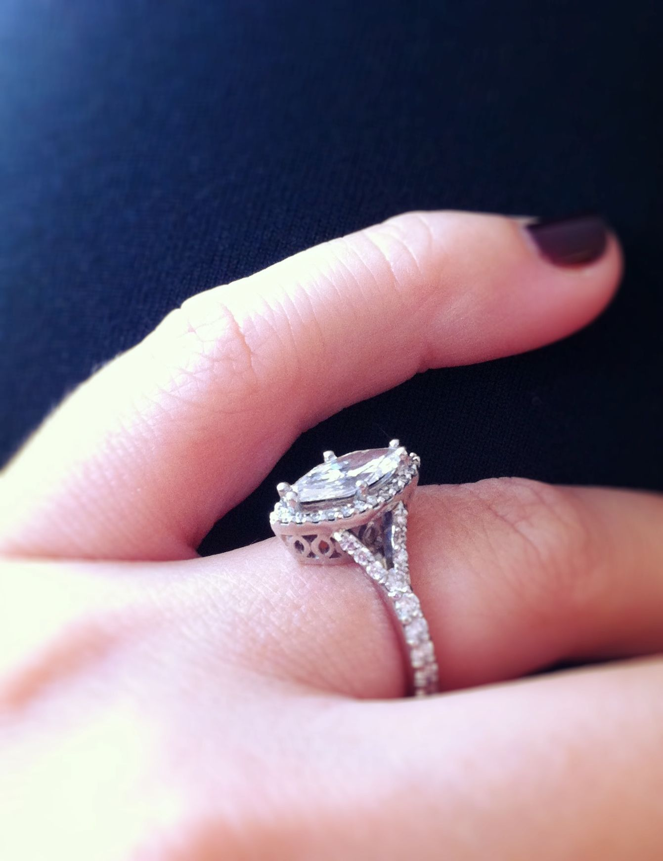 My beautiful marquise engagement ring. Side view. I love it ...