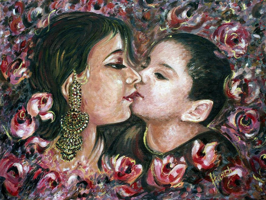 Kiss Painting - I Love You Mom by Harsh Malik