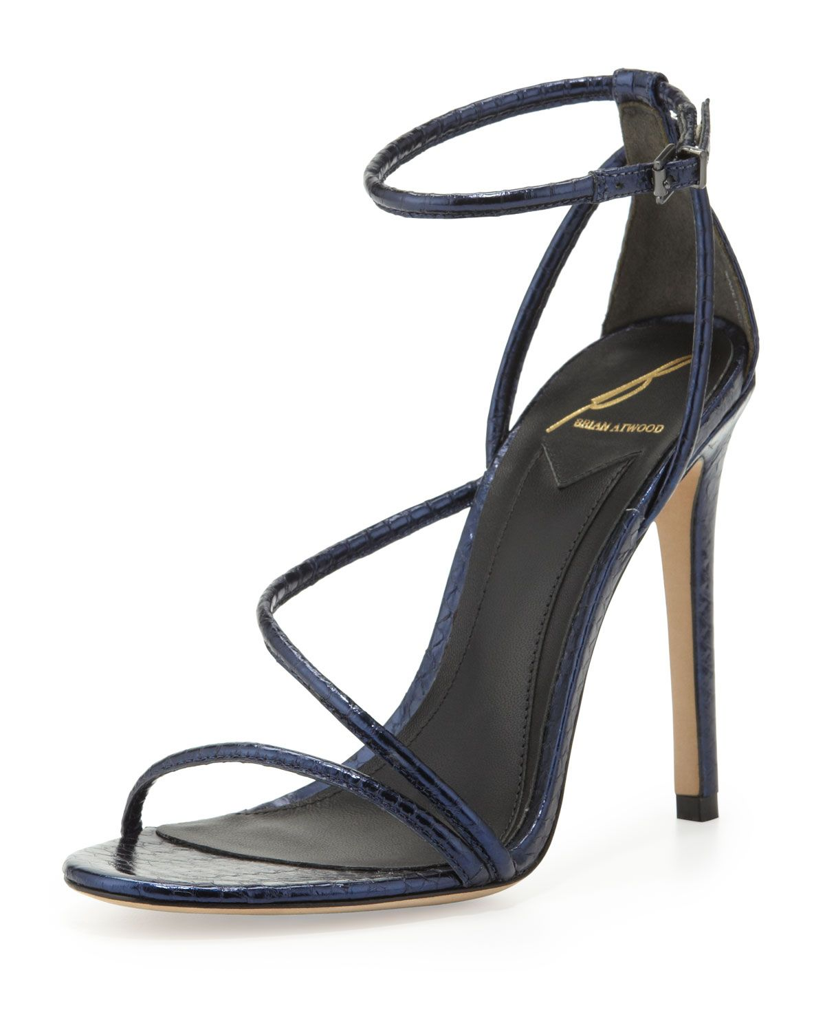 B Brian Atwood Labrea Metallic Snake Sandal Navy in Blue (DARK BLUE) | Lyst