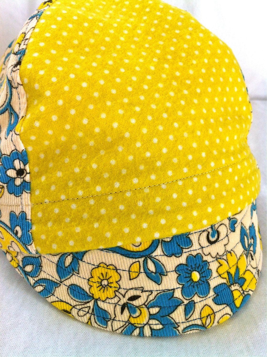 86d821cdae0112 kids paisley corduroy and yellow organic flannel cycling cap. $25.00, via  Etsy.