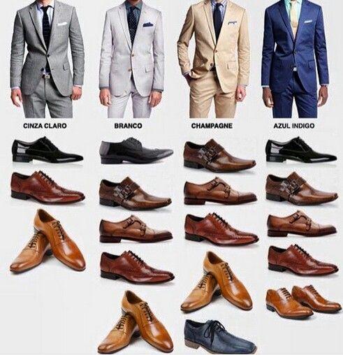 Como combinar los zapatos #shoes #suit #branco #champagne #azul #indigo