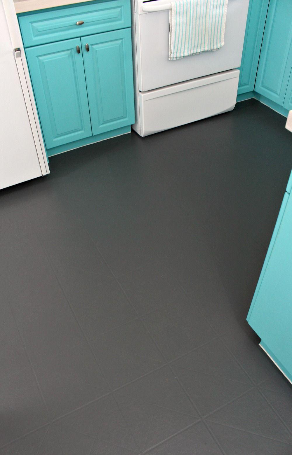 How to Paint a Vinyl Floor   Vinyl flooring, Diy kitchen ...