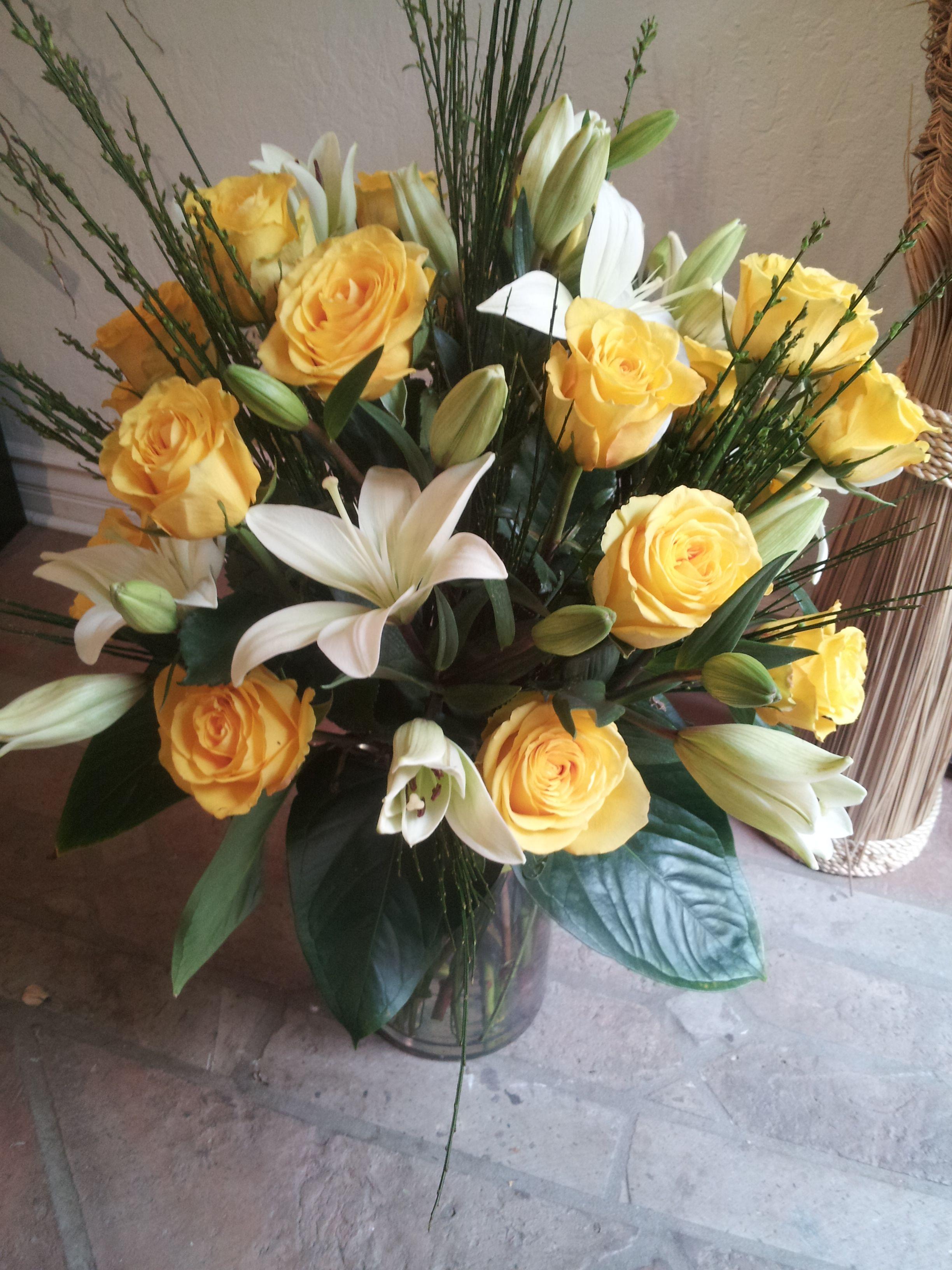 Huge Arrangement Of Lilies And Roses Pv Florist Arrangements