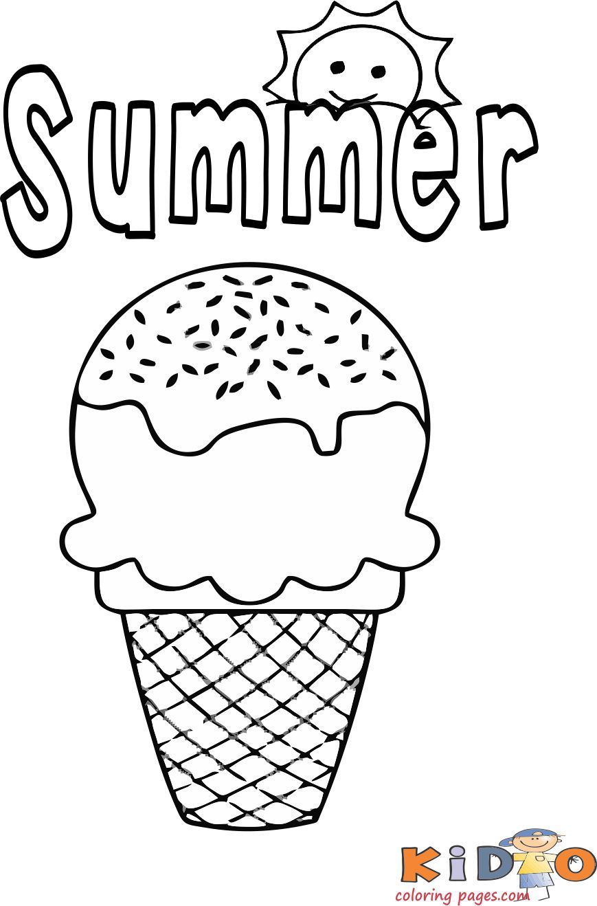 Summer ice cream coloring pages for kids  Ice cream coloring