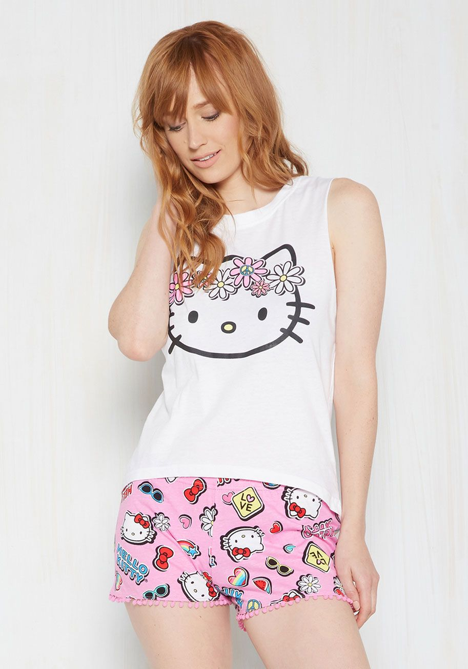 12b995b80 Caught Cat Napping Pajamas. After spying you sleeping in these Hello Kitty  pajamas, your roommate wakes you with a flurry of compliments. #white  #modcloth