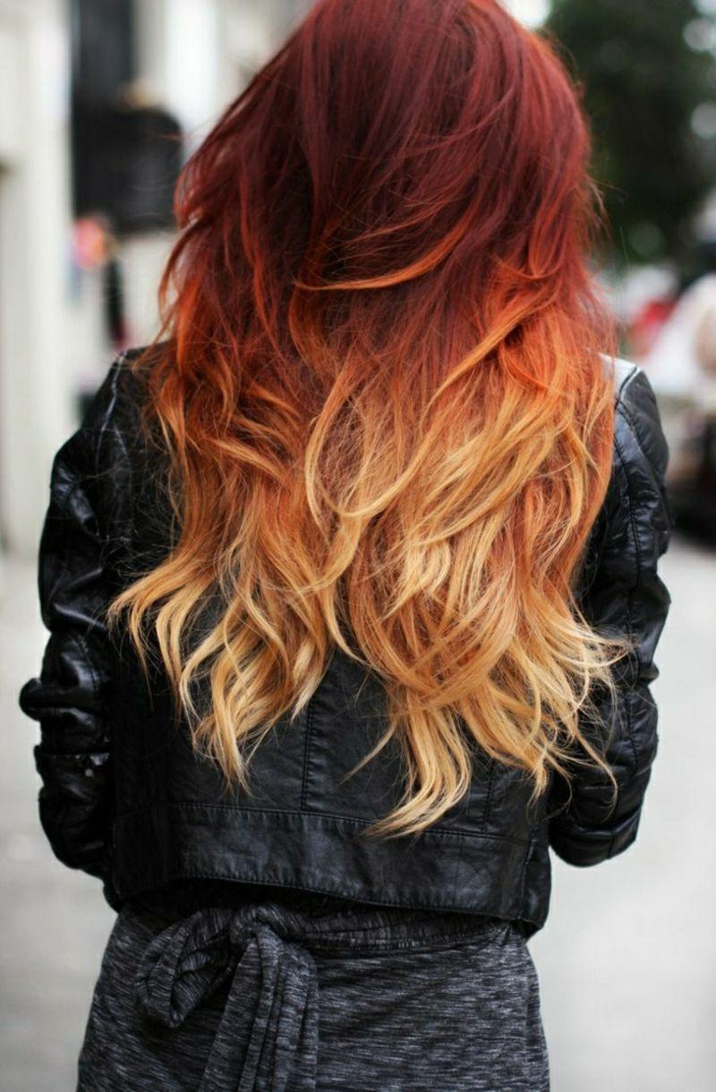 Frisurentrends Ombre Haare Oberkopf Rot Blonde Haarspitzen Hair