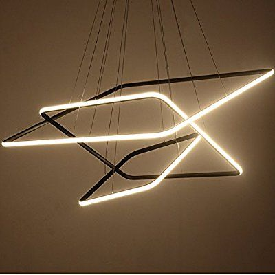 Royal Pearl Modern Square Led Chandelier Adjustable Hanging Light Three Ring Collection Contempo Contemporary Ceiling Light Modern Ceiling Lamps Hanging Lights