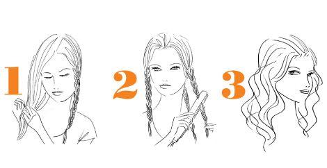 1. Sumuta puhtaisiin hiuksiin lämpösuojasuihketta. Jaa hiukset kolmeen osioon ja palmikoi kukin osio löysälle letille. Älä letitä aivan latvaan asti.   2. Käsittele letit muotoiluraudalla yksitellen tyvestä latvaan. Valitse mieto lämpötila; lettejä ei ole tarkoitus litistää täysin.   3. Avaa letit ja pöyhi. Viimeistele kampaus suolasuihkeella, joka erottelee laineet ja saa hiukset näyttämään meriveden huljuttelemilta.