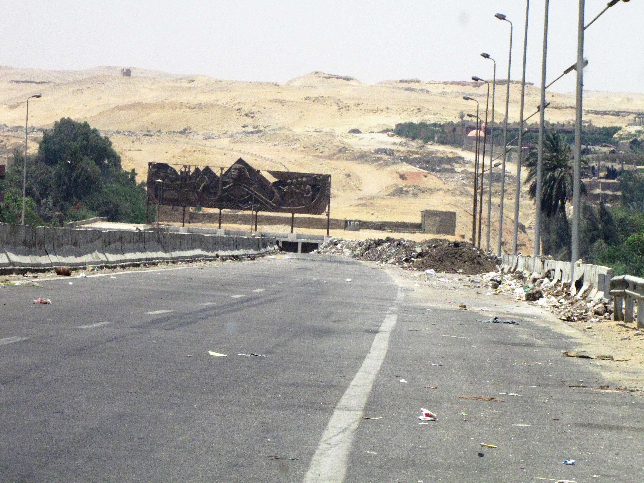 The road dead ends into the desert in Egypt
