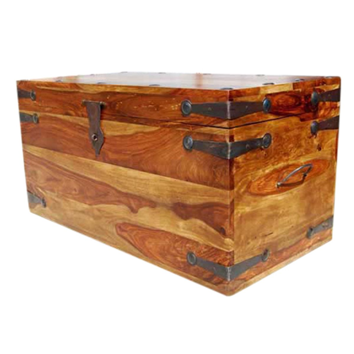Solid Wood Dallas Trunk Coffee Table with Wrought Iron ...