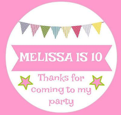 48 personalised bunting birthday party stickers thankyou sweet cones bags pink view