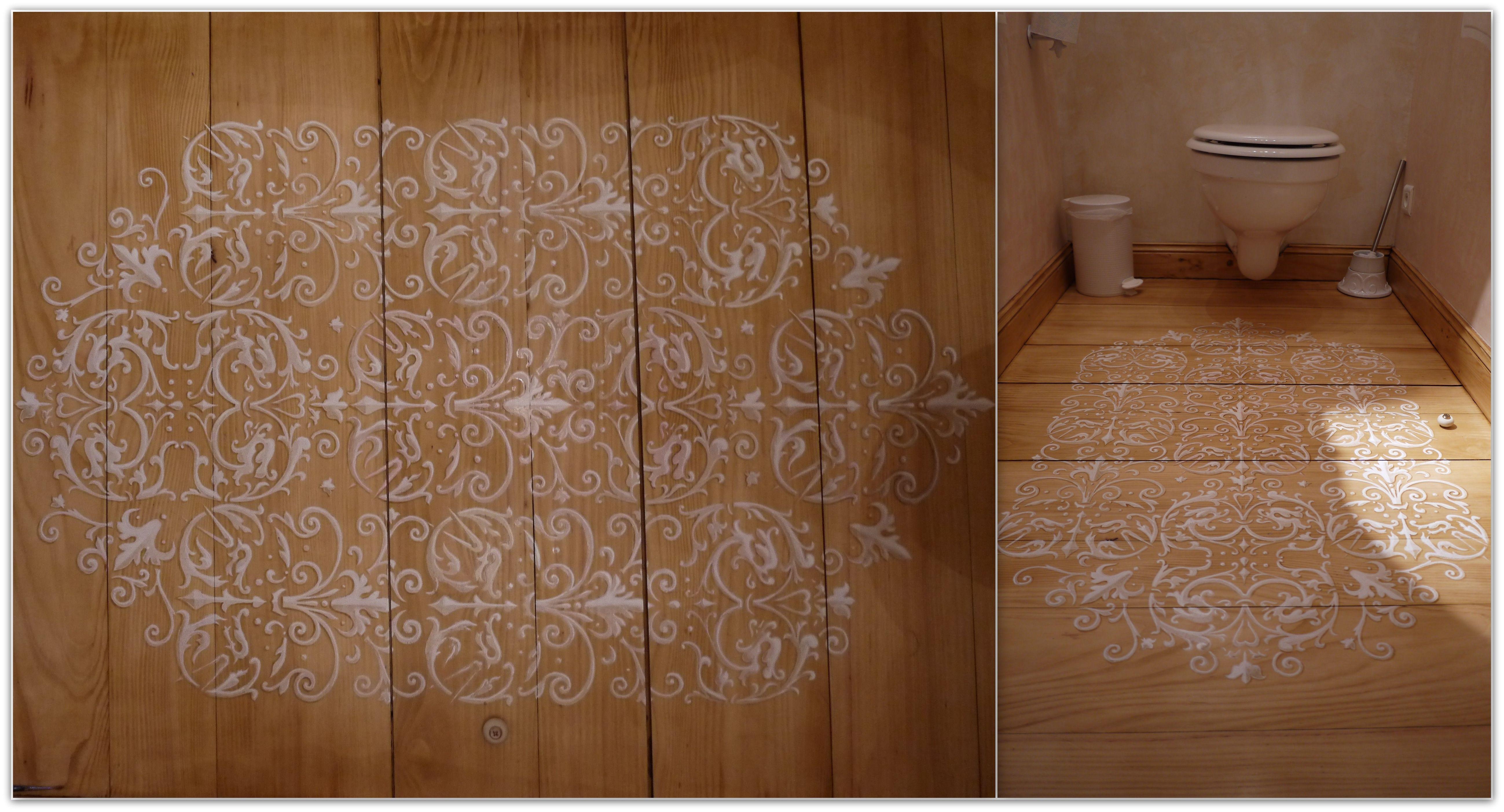 Pochoir au sol pour un tapis de toilette  Decoration, Tapis