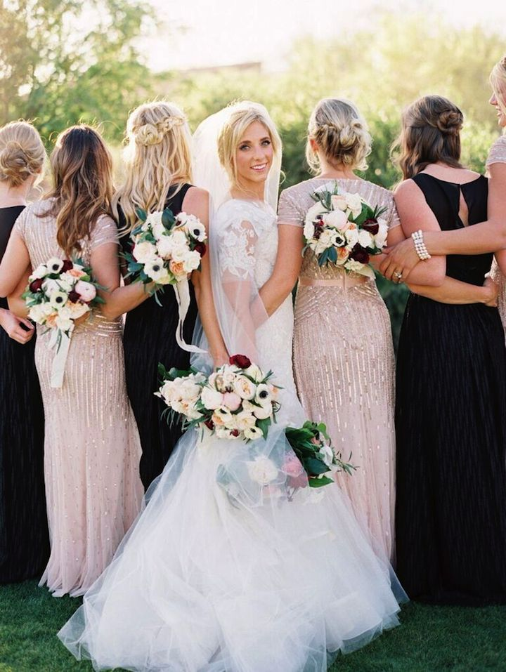 Liancarlo wedding dress + black and blush bridesmaids dresses for romantic wedding