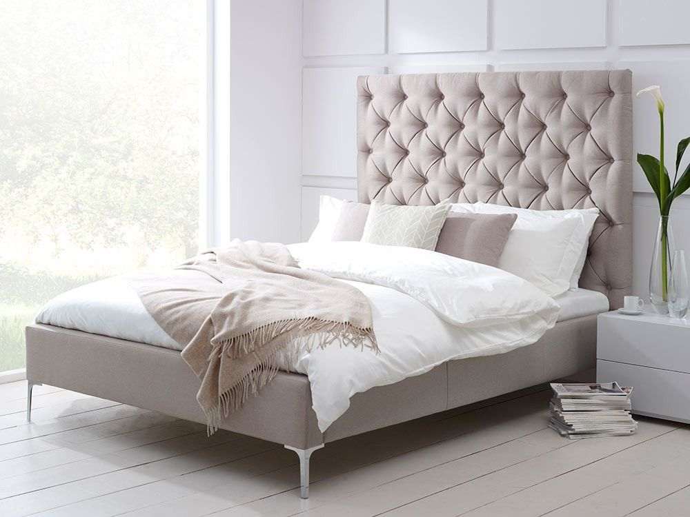 Elise Tall Buttoned Headboard Upholstered Bed Living It Up Guest Room Upholstered Beds Upholstered Bed Frame High Headboard Beds
