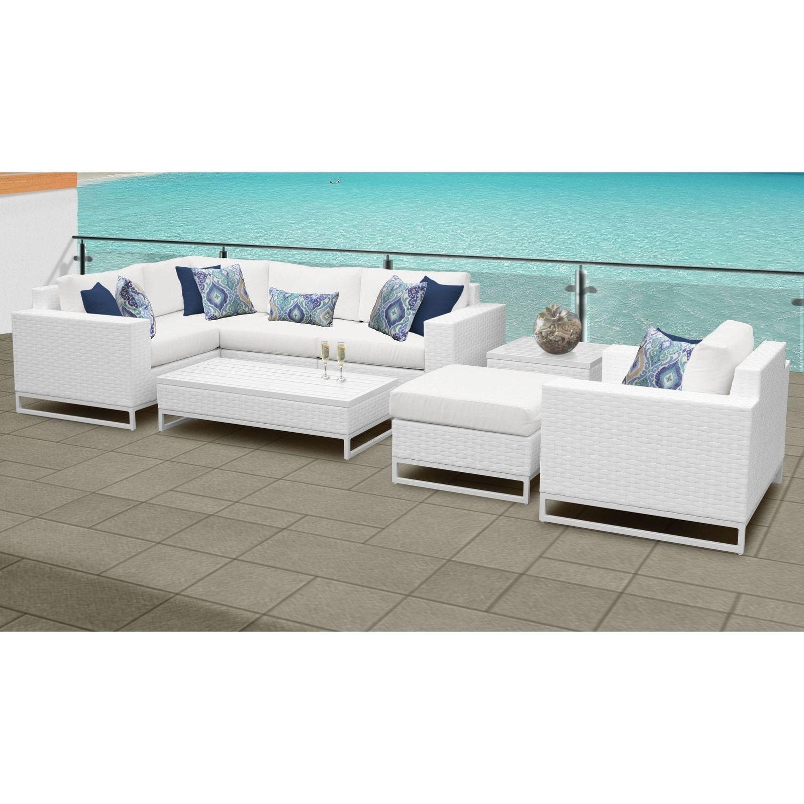Miami 8 Piece Outdoor Wicker Patio Furniture Set 08g White Tk