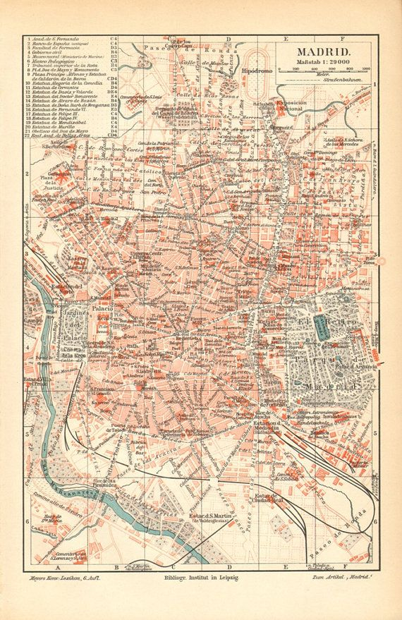 1905 Original Antique City Map of Madrid, Spain in 2019 | Earth ...