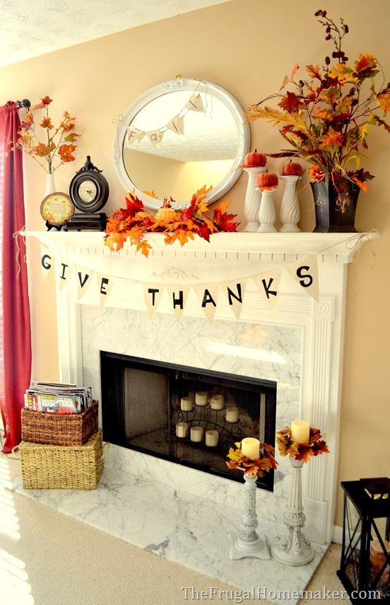 thefrugalhomemaker.com - like the garland and the leaves!  Might be fun to create something similar with the kiddo? #fallmantledecor
