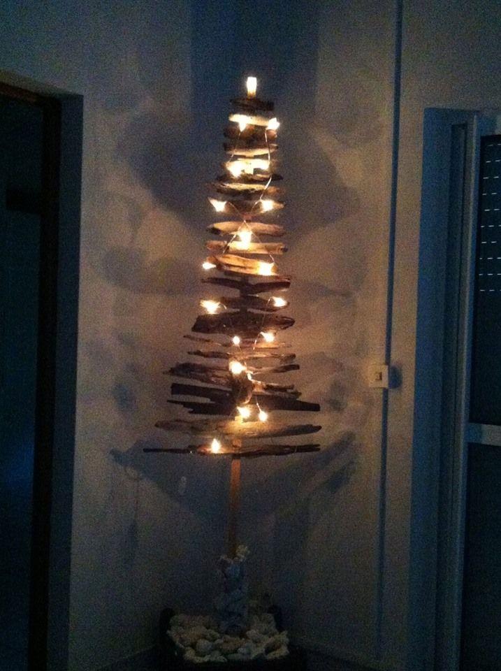 sapin, luminaire en bois flotté