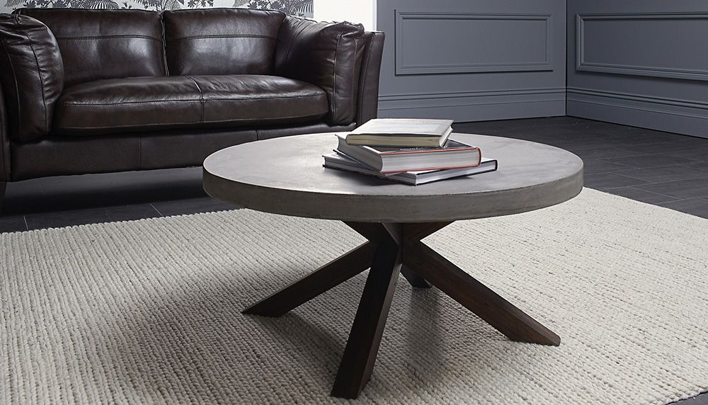Levanzo coffee table with concrete table top with Acacia wood frame. Levanzo coffee table with concrete table top with Acacia wood