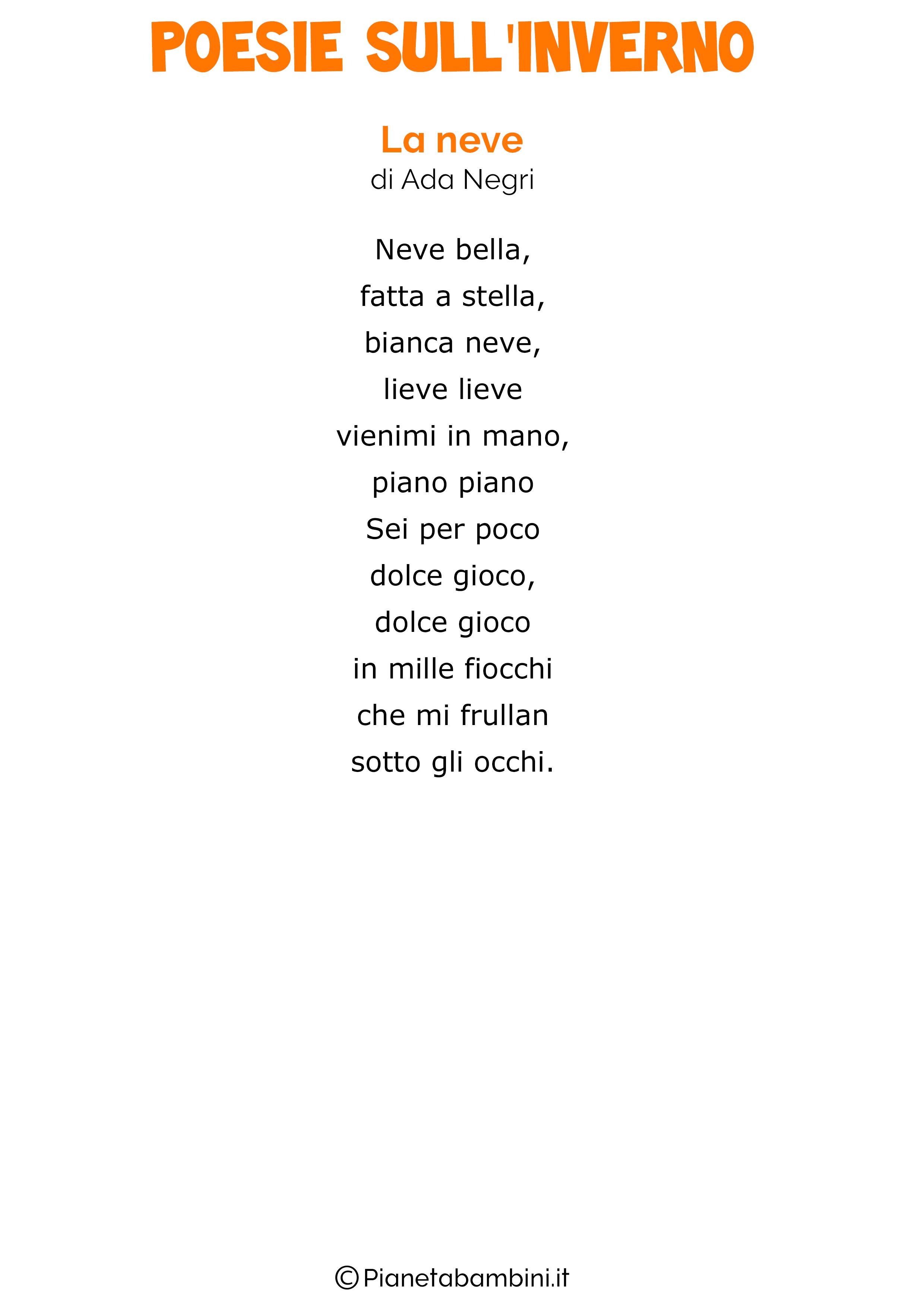 Poesie Sull Inverno Per Bambini Scuola Primaria