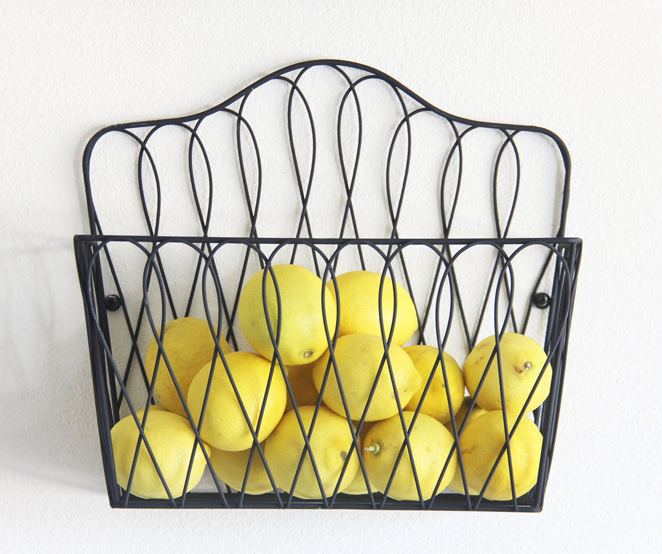 Wall Mount Storage Magazine Rack Fruit Basket also for magazines