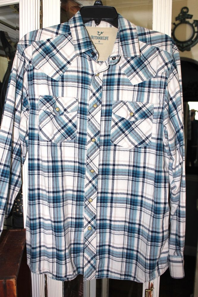 AMERICAN EAGLE RED WHITE BLUE PLAID Button Down Long Sleeve ...