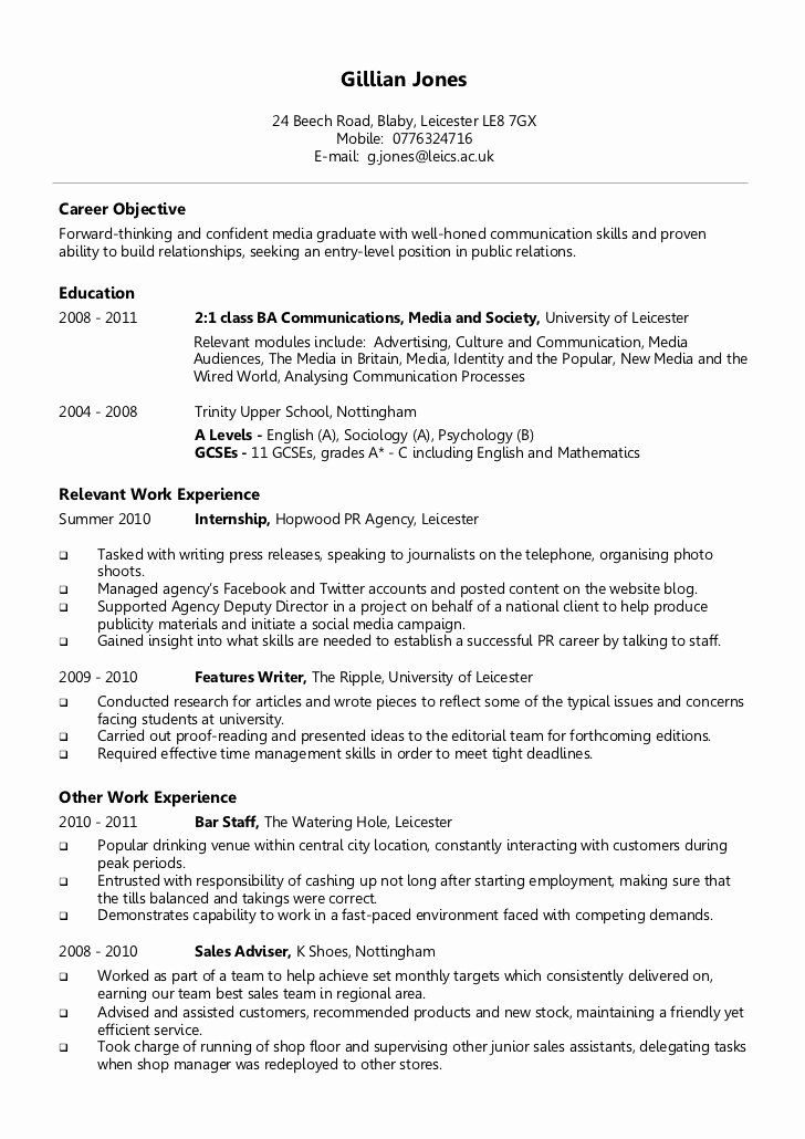 Entry Level Psychology Resume New Resume Examples for