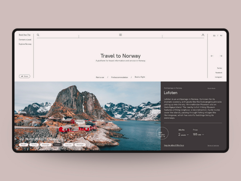 Concept Website Travel To Norway Norway Travel Concept