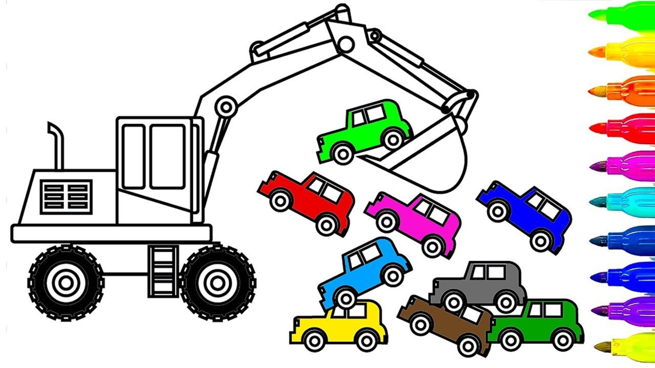 Learn Colors for Kids with Ecavator Truck and Car Coloring Pages ...
