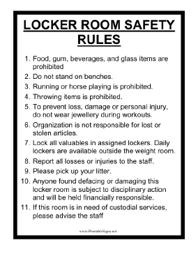 This Sign Displays Locker Room Safety Rules For A Gym Or