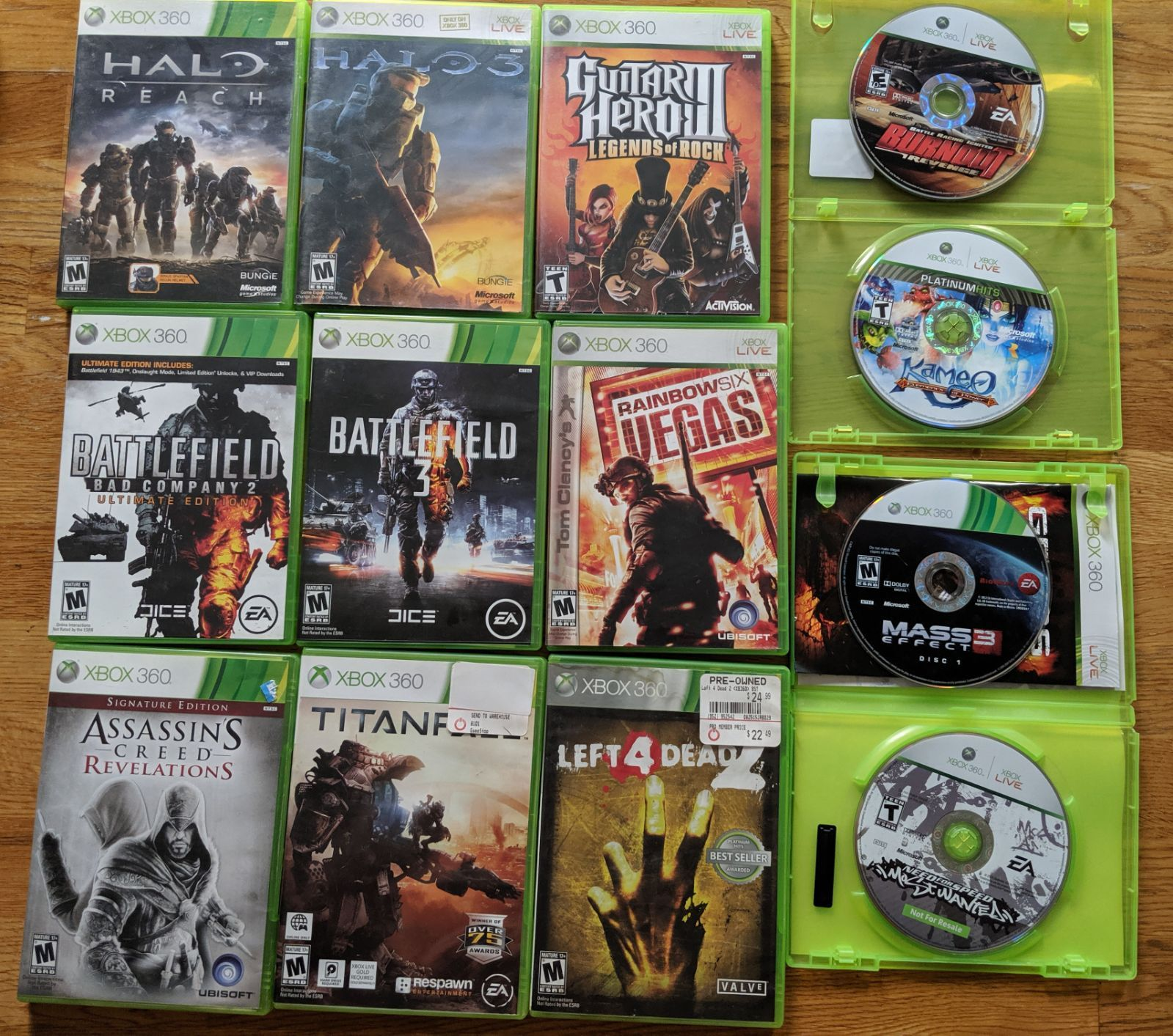 Bundle Of Xbox 360 Games Includes Halo Reach Halo 3 Assassin S