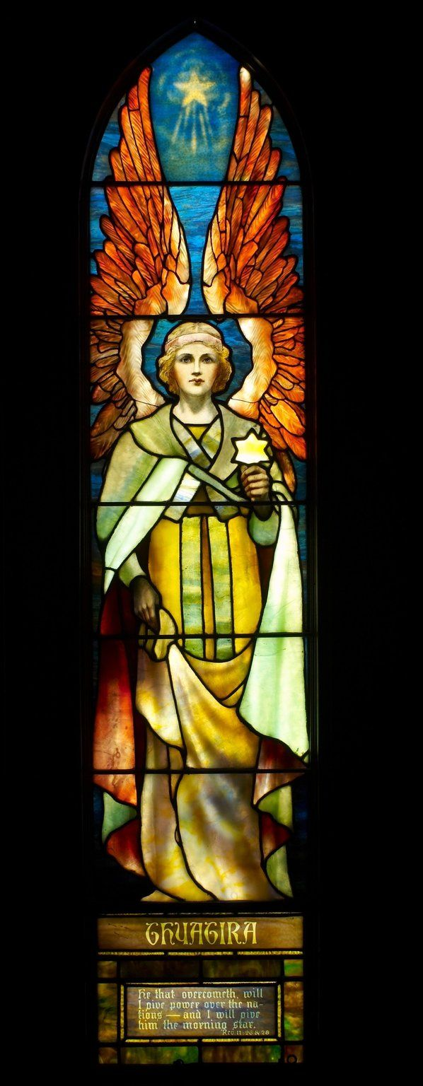 ❤ - Thyatira: This is one of the angels in the stained glass, designed by Louis Tiffany. The windows were built in 1903 for a Cincinnati church.