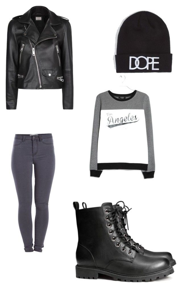 """""""Sans titre #50"""" by loriana-somville ❤ liked on Polyvore featuring MANGO, Pieces, H&M and Dope"""