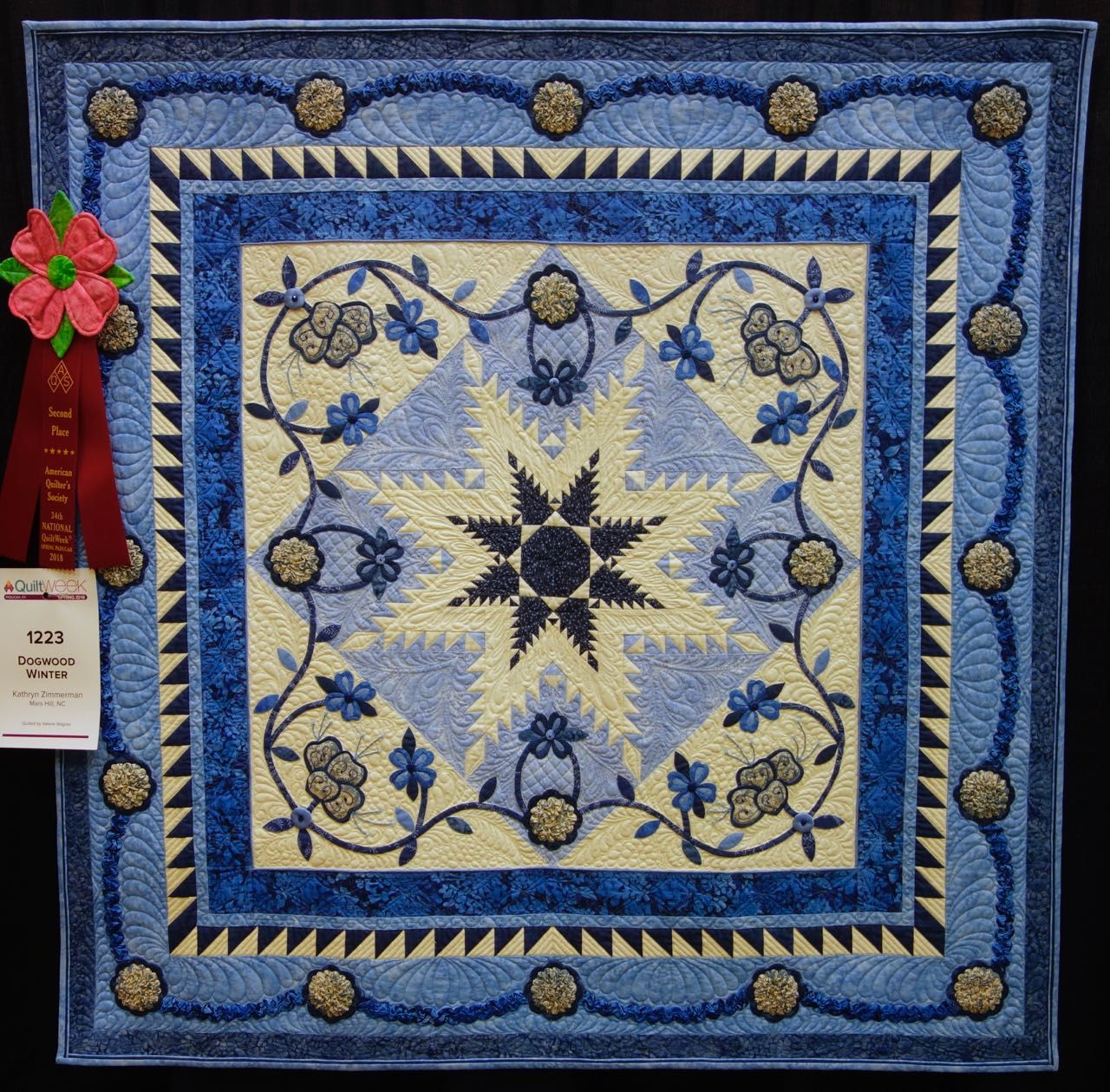 Kathryn Zimmerman S Quilt Dogwood Winter 1st Place 1st Place 2nd Place Quilt Guild Flower Quilts Star Quilts