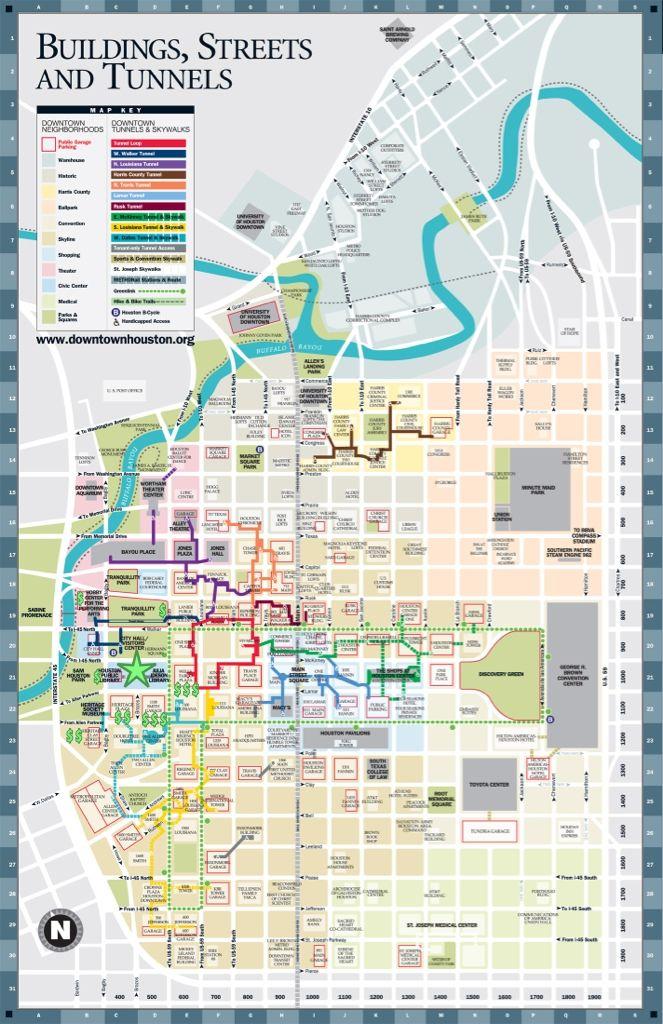 Houston Downtown Tunnel Map Downtown Houston Tunnels Map | Fabulous Houston | Houston map
