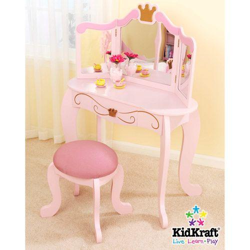 kidkraft princess vanity and stool salon esthetique premier bebe cabine petite fille