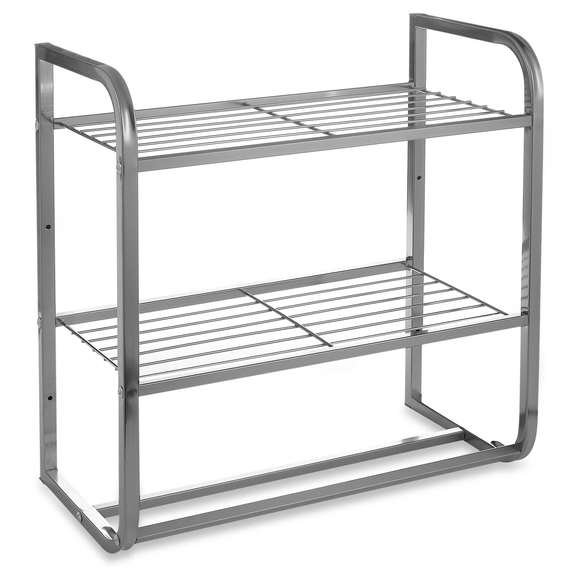 2 Tier Satin Nickel Shelf With Towel Bars