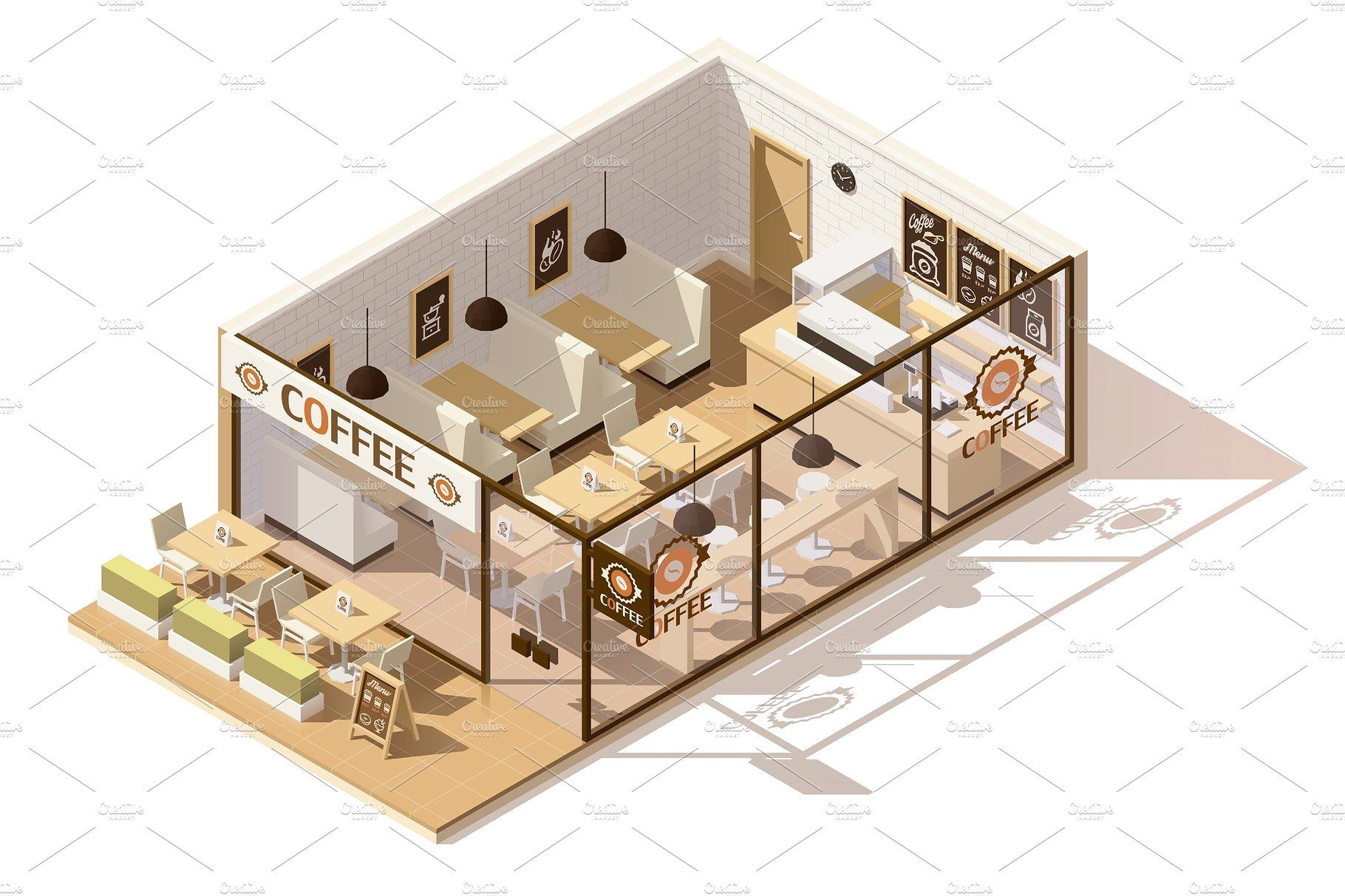 Vector Isometric Low Poly Coffee Shop Coffee Shops Interior Coffee Shop Interior Design Cafe Floor Plan