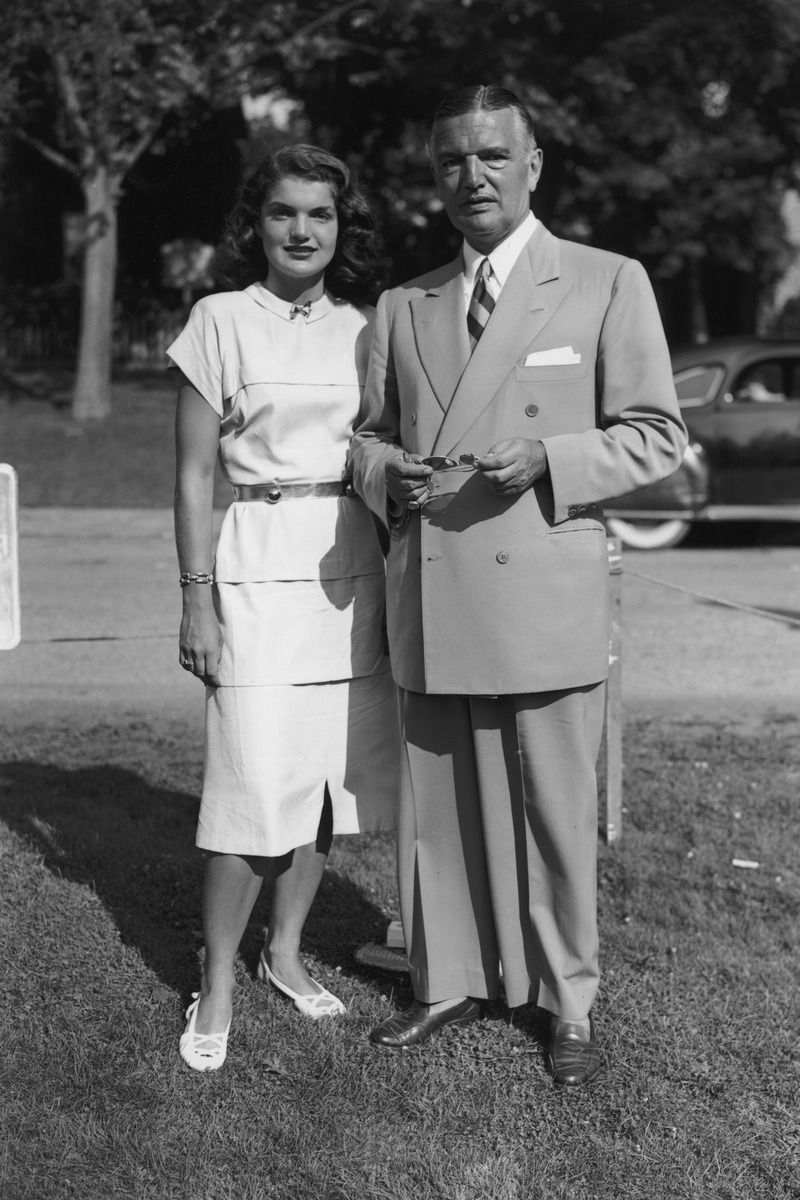 July 23, 1947 JACKIE KENNEDY with her father, John V Bouvier III in East Hampton, New York. Photo: Morgan Collection/Getty Images