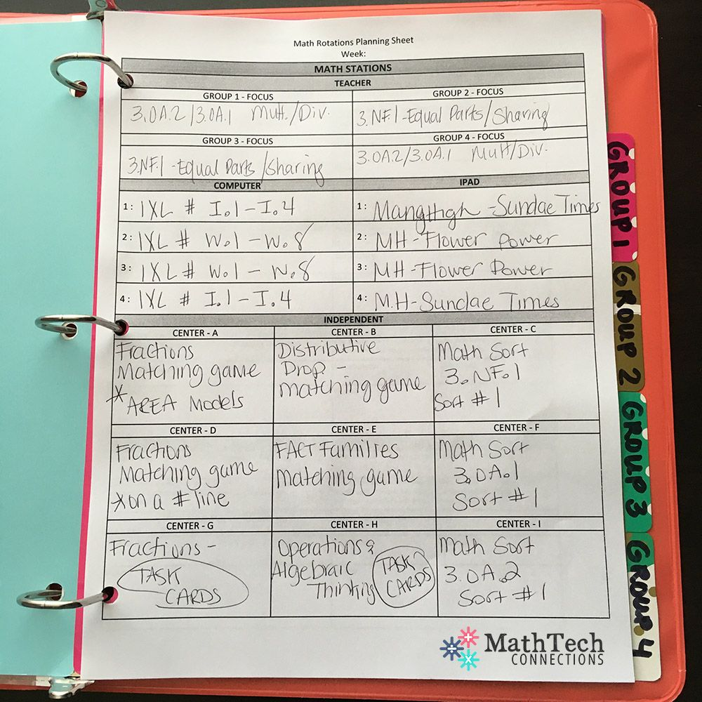 math workshop rotations - weekly lesson plan template - free ...