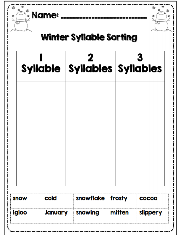 first grade winter math ela packet common core aligned syllable common cores and math. Black Bedroom Furniture Sets. Home Design Ideas
