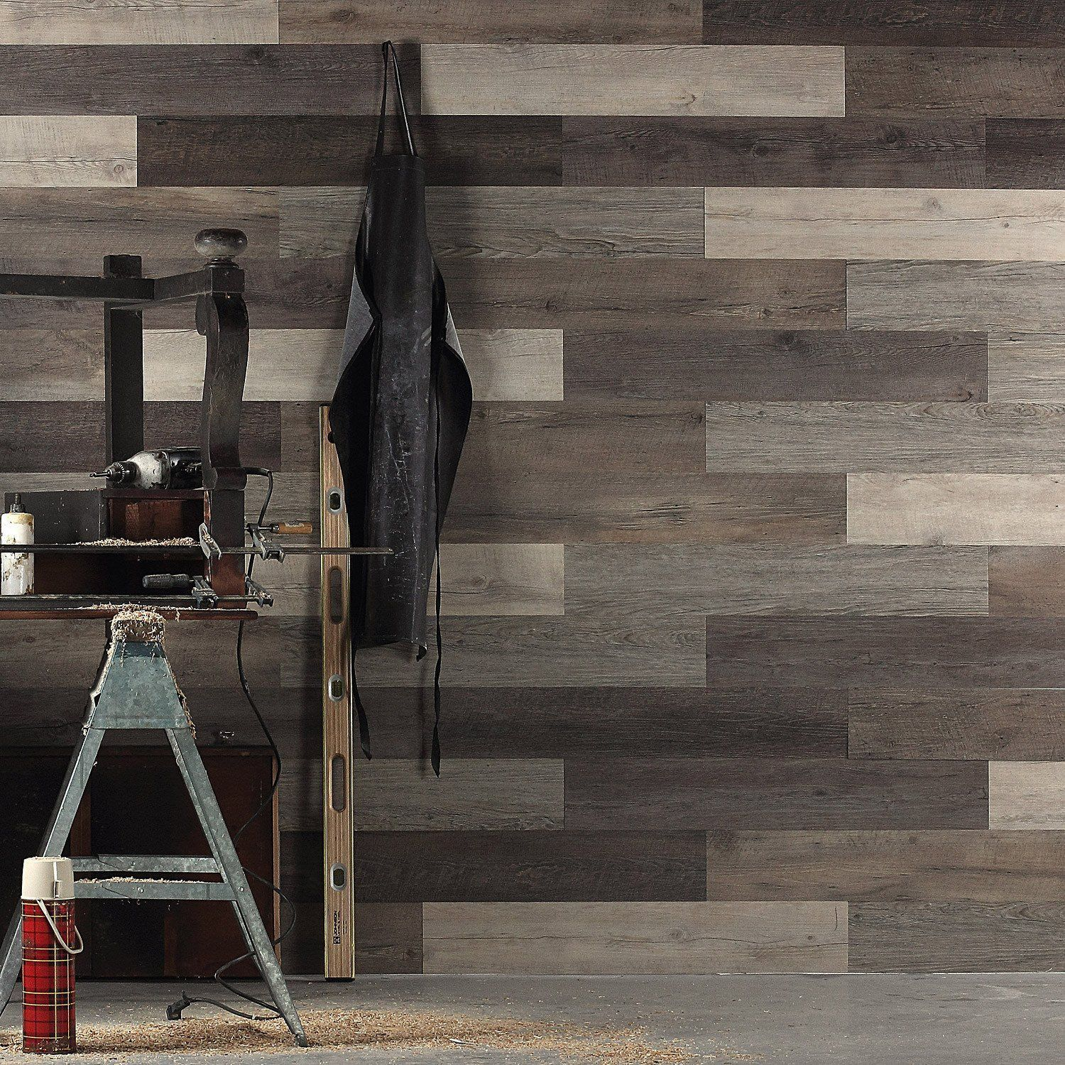 Scrap Wood Look Peel and Stick Wall Planks
