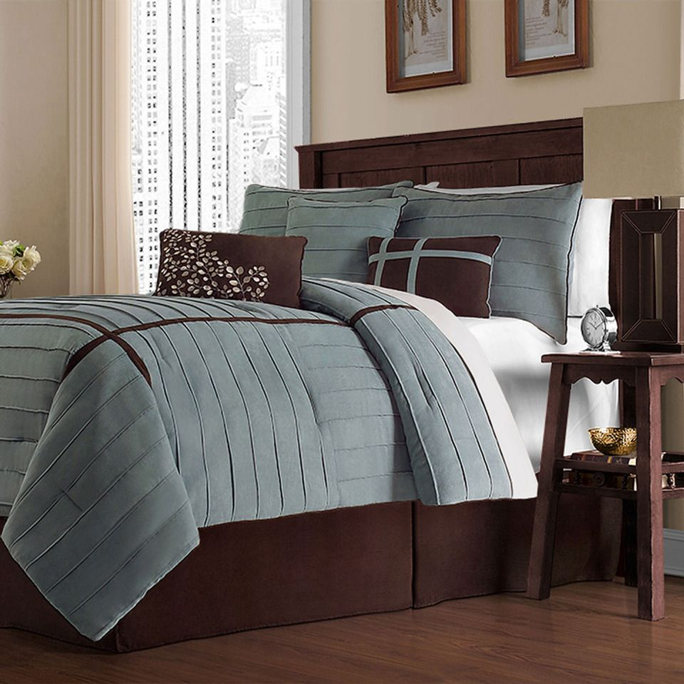 Ellington Bedding In Blue & Brown.