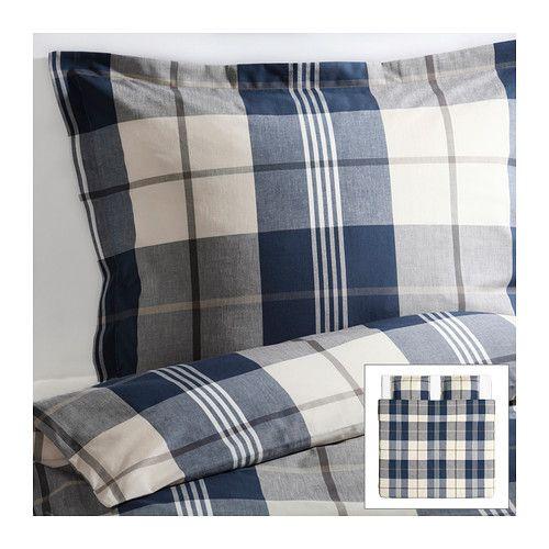 299 kr KUSTRUTA Dynebetræk og 2 pudebetræk IKEA Gennemfarvet. Tråden farves, før den væves. Giver blødt sengetøj. Dekorative knapper holder dynen p...
