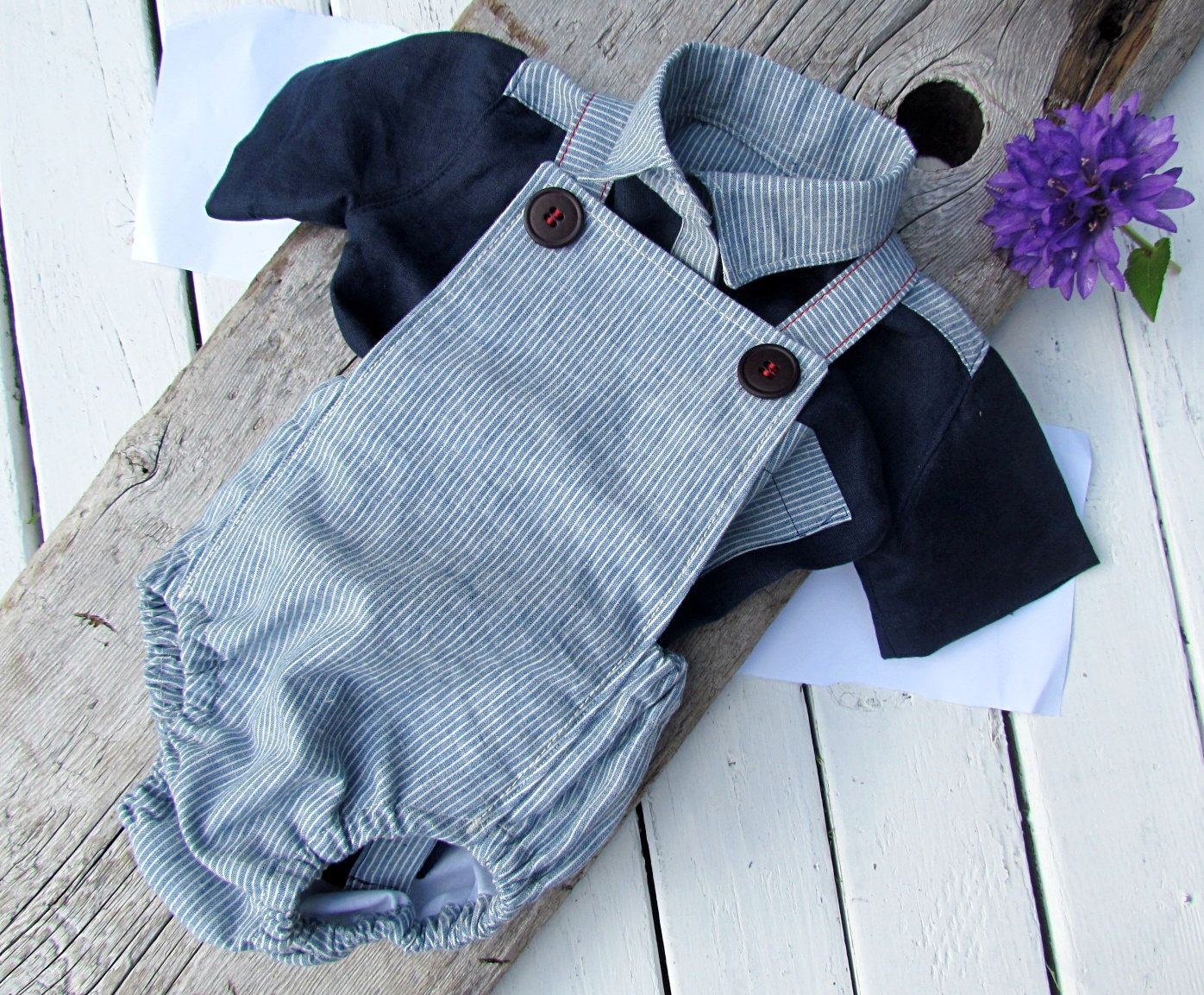 Baby Boy Romper and Linen Shirt - Wedding Outfit Baby Boy - Baby Boy ...