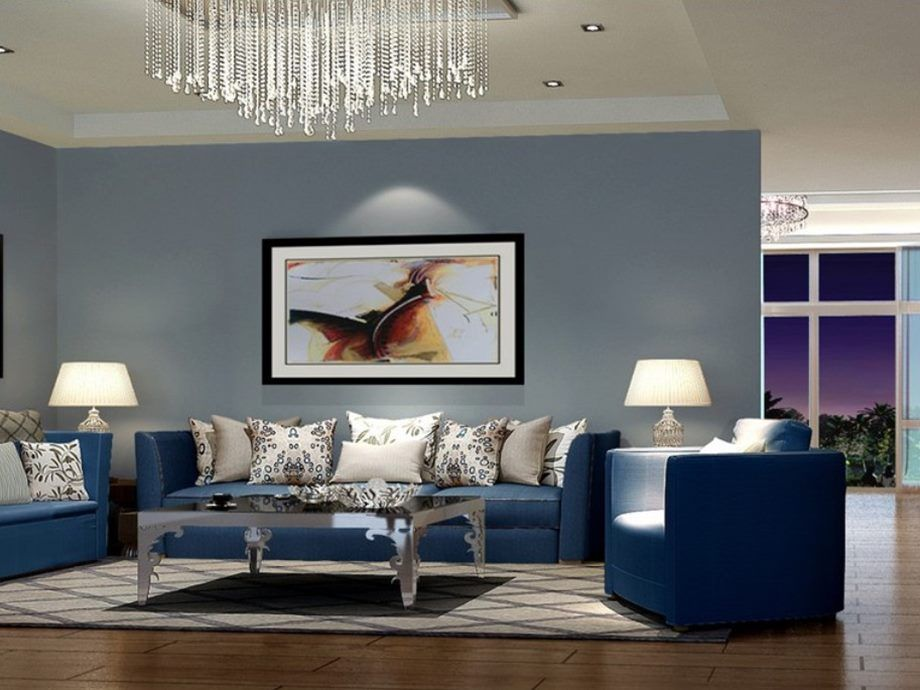 Modern Living Room Look modern blue sofa to make living room look elegant - minimalist