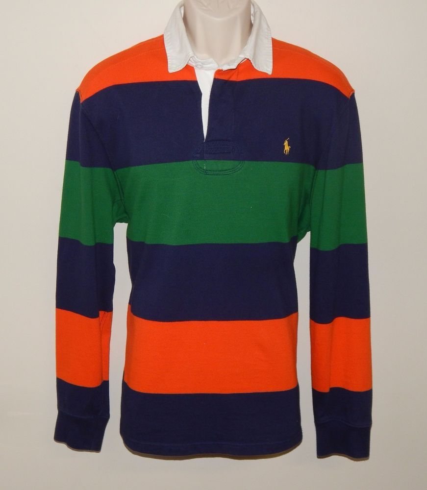 Mens Large POLO RALPH LAUREN Custom Fit Striped Rugby Sweater ...