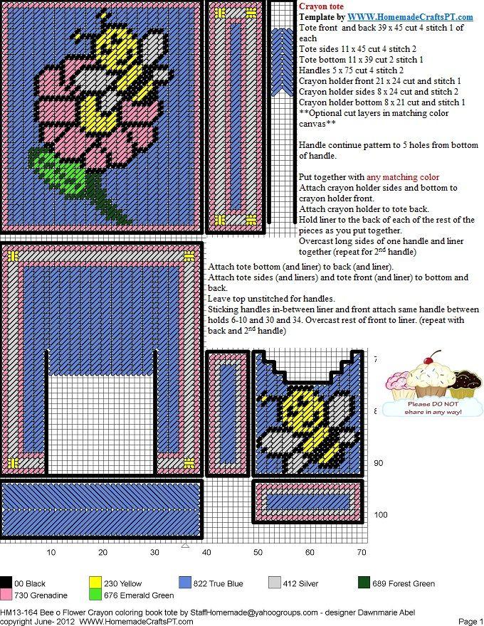 BEE AND FLOWER CRAYON AND COLORING BOOK HOLDER | bolsas malla rafia ...