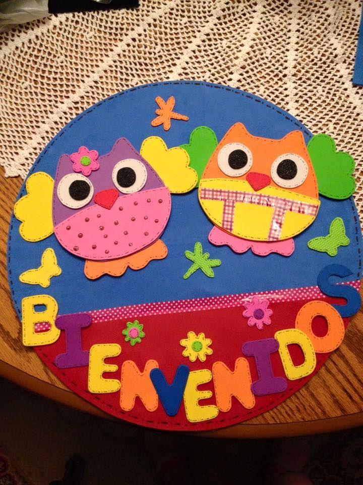 Cartel de bienvenidos con goma eva fomy pinterest for Decoracion verano jardin infantil